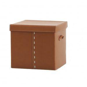 GABRY 01: Contenitore in cuoio colore Marrone, con coperchio in cuoio per cabina armadio, raccoglitore per giocattoli, archivio documenti, disegnato da Limac Design®, 100% Made in Italy