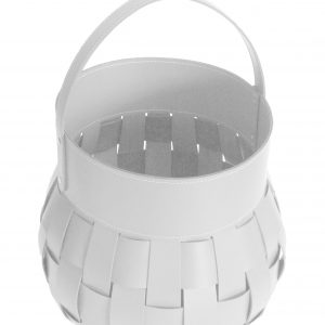 OVO: borsa portalegna in cuoio intrecciato colore Bianco, contenitore per camino, borsa porta legna, per la casa, Ufficio, Hotel, design Firestyle®, Made in Italy.
