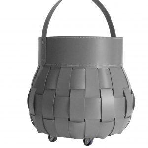 OVO: borsa portalegna in cuoio intrecciato colore Antracite, contenitore per camino, borsa porta legna, per la casa, Ufficio, Hotel, design Firestyle®, Made in Italy.