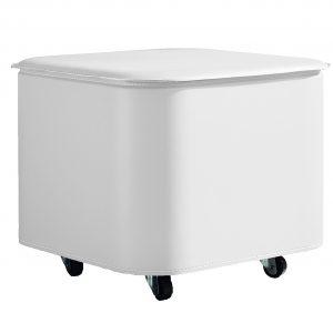 PUFFO: contenitore in cuoio colore Bianco, con coperchio, ruote gommate, portaoggetti multiuso, salva spazio, struttura in multistrato rivestito in cuoio, Made in Italy by Limac Design®.