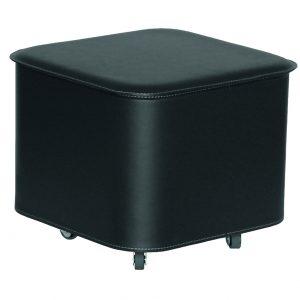 PUFFO: contenitore in cuoio colore Nero, con coperchio, ruote gommate, portaoggetti multiuso, salva spazio, struttura in multistrato rivestito in cuoio, Made in Italy by Limac Design®.