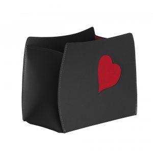 BEATRICE: portariviste in cuoio colore Nero con cuore colore rosso, borsa in cuoio, cesto, cestino, contenitore, Made in Italy by Limac Design®.