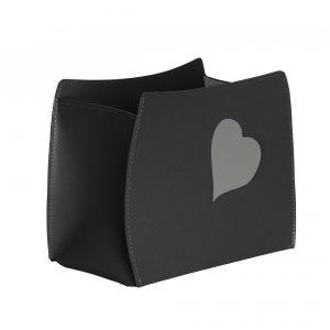 BEATRICE: Revistero en cuero color Negro, Corazón Paloma, para diarios y revistas, para cuarto de baño, oficina, recibidor, Made in Italy by Limac Design®.