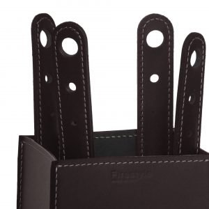 Ensemble d'outils de cheminée 4 pièces avec poignée en cuir  MARY
