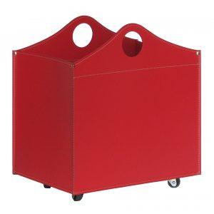 BOCAD: set da camino in cuoio colore Rosso composto da portalegna, borsa porta-ferri e attrezzi da camino, idea regalo, cesta per legna, Made in Italy, design Firestyle®.