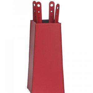 BOARY: set da camino in cuoio colore Rosso composto da borsa porta-ferri in cuoio, attrezzi da camino con manico in cuoio, sacca portaferri, idea regalo, prodotto in Italia da Firestyle®.