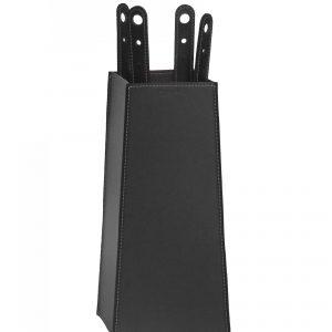 BOARY: set da camino in cuoio colore Nero composto da borsa porta-ferri in cuoio, attrezzi da camino con manico in cuoio, sacca portaferri, idea regalo, prodotto in Italia da Firestyle®.