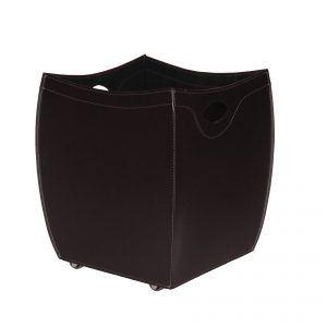 BOTTE: portalegna in cuoio colore Testa di Moro, contenitore per camino, borsa porta legna, per la casa, Ufficio, Hotel, design Firestyle®, Made in Italy.