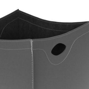 BOTTE: portalegna in cuoio colore Antracite, contenitore per camino, borsa porta legna, per la casa, Ufficio, Hotel, design Firestyle®, Made in Italy.