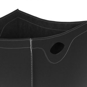 BOTTE: Kaminholzkorb aus Leder farbe Schwarz, Holzkorb, Feuerholzkorb, Brennholzkorb, Exlusivdesign aus Italien, Limac Design®.