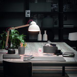 DOBRA: Set 2 pezzi da scrivania in cuoio colore Bordeaux, portapenne e portaoggetti, organizer ufficio, hotel, Made in Italy by Limac Design®.