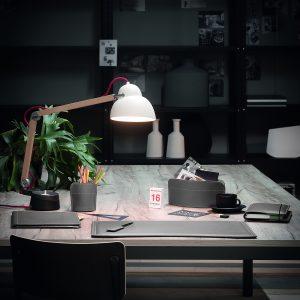 DOBRA: Set 2 pezzi da scrivania in cuoio colore Antracite, portapenne e portaoggetti, organizer ufficio, hotel, Made in Italy by Limac Design®.
