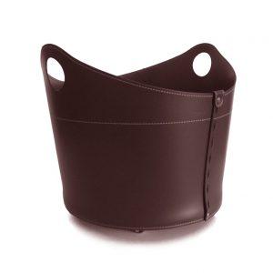 CADIN: Portalegna in cuoio colore Testa di Moro, contenitore per camino, borsa porta legna, per la casa, Ufficio, Hotel, design Firestyle®, Made in Italy.
