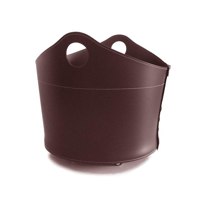 CADIN MINI: Portalegna in cuoio colore Testa di Moro, contenitore per camino, borsa porta legna, per la casa, Ufficio, Hotel, design Firestyle®, Made in Italy.