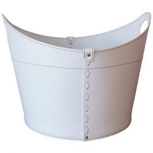 CADIN MINI: Portalegna in cuoio colore Bianco, contenitore per camino, borsa porta legna, per la casa, Ufficio, Hotel, design Firestyle®, Made in Italy.