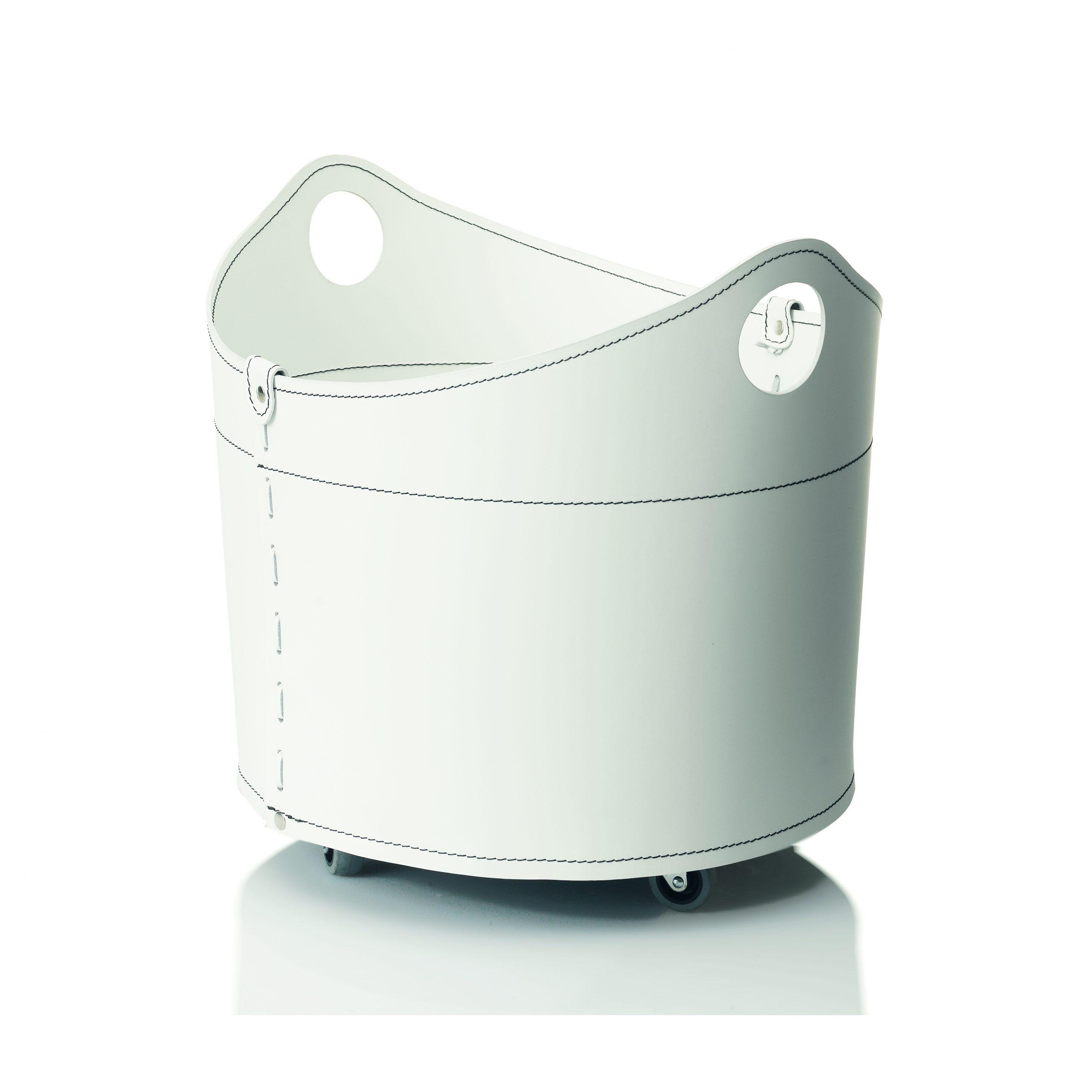 CADIN: Portalegna in cuoio colore bianco, contenitore per camino, borsa porta legna, per la casa, Ufficio, Hotel, design Firestyle®, Made in Italy.