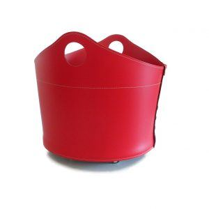 CADIN MINI: Portalegna in cuoio colore Rosso, contenitore per camino, borsa porta legna, per la casa, Ufficio, Hotel, design Firestyle®, Made in Italy.