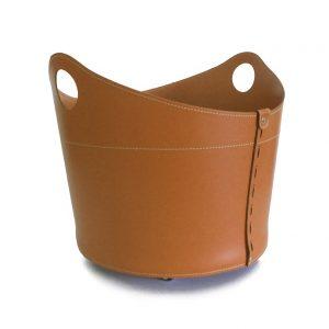 CADIN MINI: Portalegna in cuoio colore Marrone, contenitore per camino, borsa porta legna, per la casa, Ufficio, Hotel, design Firestyle®, Made in Italy.