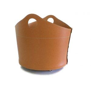 CADIN: Portalegna in cuoio colore Marrone, contenitore per camino, borsa porta legna, per la casa, Ufficio, Hotel, design Firestyle®, Made in Italy.