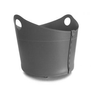CADIN: Portalegna in cuoio colore Antracite, contenitore per camino, borsa porta legna, per la casa, Ufficio, Hotel, design Firestyle®, Made in Italy.
