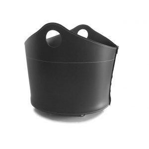 CADIN MINI: Portalegna in cuoio colore Nero, contenitore per camino, borsa porta legna, per la casa, Ufficio, Hotel, design Firestyle®, Made in Italy.