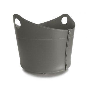 CADIN MINI: Portalegna in cuoio colore Tortora, contenitore per camino, borsa porta legna, per la casa, Ufficio, Hotel, design Firestyle®, Made in Italy.