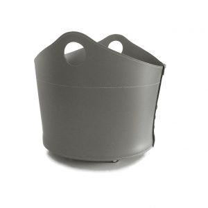 CADIN: Portalegna in cuoio colore Tortora, contenitore per camino, borsa porta legna, per la casa, Ufficio, Hotel, design Firestyle®, Made in Italy.