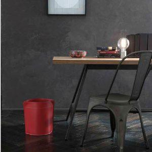 CANISTRO cestino gettacarte in cuoio colore Rosso, cesto gettacarte di design, per casa e ufficio by Limac Design®.