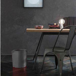CANISTRO cestino gettacarte in cuoio colore Antracite, cesto gettacarte di design, per casa e ufficio by Limac Design®.
