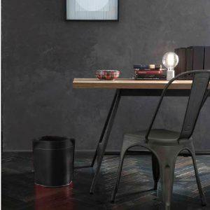 CANISTRO cestino gettacarte in cuoio colore Nero, cesto gettacarte di design, per casa e ufficio by Limac Design®.