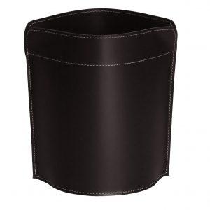 CANISTRO cestino gettacarte in cuoio colore testa di moro, cesto gettacarte di design, per casa e ufficio by Limac Design®.