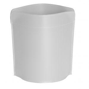 CANISTRO cestino gettacarte in cuoio colore Bianco, cesto gettacarte di design, per casa e ufficio by Limac Design®.