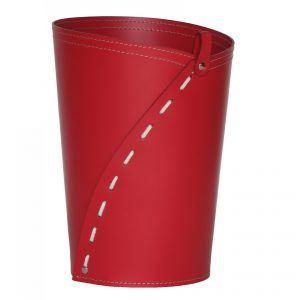 SERVUS: cestino gettacarte in cuoio colore Rosso, gettacarte di design, per casa e ufficio by Limac Design®.