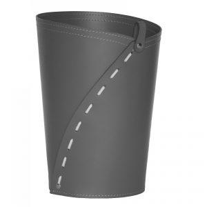 SERVUS: cestino gettacarte in cuoio colore Antracite, gettacarte di design, per casa e ufficio by Limac Design®.