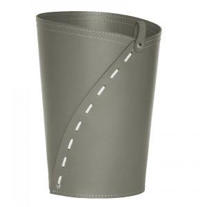 SERVUS: cestino gettacarte in cuoio colore Tortora, gettacarte di design, per casa e ufficio by Limac Design®.
