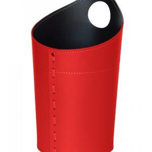 AMBROGIO: cestino gettacarte in cuoio colore rosso, gettacarte di design, per casa e ufficio, Limac Design®.