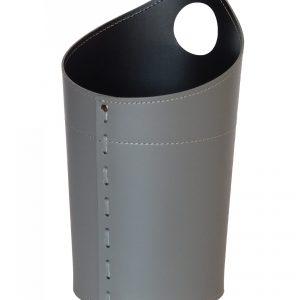 AMBROGIO: cestino gettacarte in cuoio colore grigio antracite, gettacarte di design, per casa e ufficio, Limac Design®.
