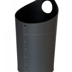 AMBROGIO: cestino gettacarte in cuoio colore nero, gettacarte di design, per casa e ufficio, Limac Design®.
