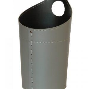 AMBROGIO: cestino gettacarte in cuoio colore tortora, gettacarte di design, per casa e ufficio, Limac Design®.