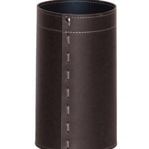 BATTISTA: cestino gettacarte in cuoio colore testa di moro, gettacarte di design, per casa e ufficio by Limac Design®.