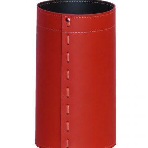 BATTISTA: cestino gettacarte in cuoio colore rosso, gettacarte di design, per casa e ufficio by Limac Design®.
