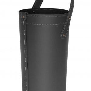 CIARY: set da camino in cuoio colore Nero composto da borsa porta-ferri in cuoio, attrezzi da camino con manico in cuoio, sacca portaferri, idea regalo, prodotto in Italia da Firestyle®.