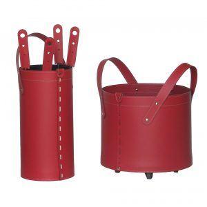 TOCAD: set da camino in cuoio colore Rosso composto da portalegna, borsa porta-ferri e attrezzi da camino, idea regalo, cesta per legna, Made in Italy, design Firestyle®.