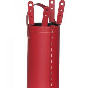 CIARY: set da camino in cuoio colore Rosso composto da borsa porta-ferri in cuoio, attrezzi da camino con manico in cuoio, sacca portaferri, idea regalo, prodotto in Italia da Firestyle®.