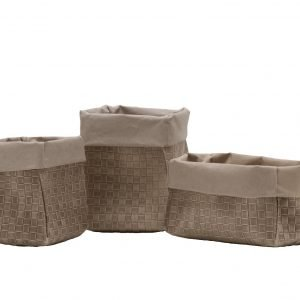 AMOS 40: Set of 3 Storage Basket Bag in regenerated leather two layers color Beige and Avana inside, food basket, basket for each use. Made in Italy, Limac Design®.