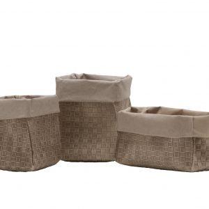 AMOS 40: Set da 3 contenitori in cuoio rigenerato Beige con stampa esterna intrecciato, sacchetto, organizer, contenitore per cucina, bagno, porta fiori, porta pane. Prodotto da Limac Design®, Made in Italy.