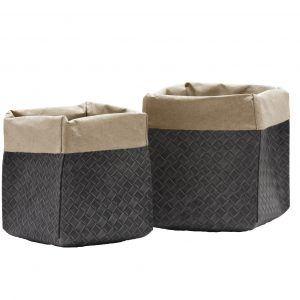 AMOS 41: Set da 3 contenitori in cuoio rigenerato Grigio con stampa esterna intrecciato, sacchetto, organizer, contenitore per cucina, bagno, porta fiori, porta pane. Prodotto da Limac Design®, Made in Italy.