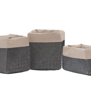 AMOS 41: Set of 3 Storage Basket Bag in regenerated leather two layers color Grey and Avana inside, food basket, basket for each use. Made in Italy, Limac Design®.