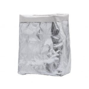 GRETA 30: Contenitori in cellulosa Shine Argento, interno colore Bianco, portabiancheria, cesta per biancheria, contenitore per giochi, Made in Italy, design esclusivo Limac Design®.