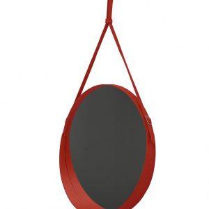 CORIUM 70: Specchio tondo da parete, cornice bordo e cintura totalmente in cuoio colore Rosso, specchio di bellezza, disegnato da Limac Design®, 100% Made in Italy.